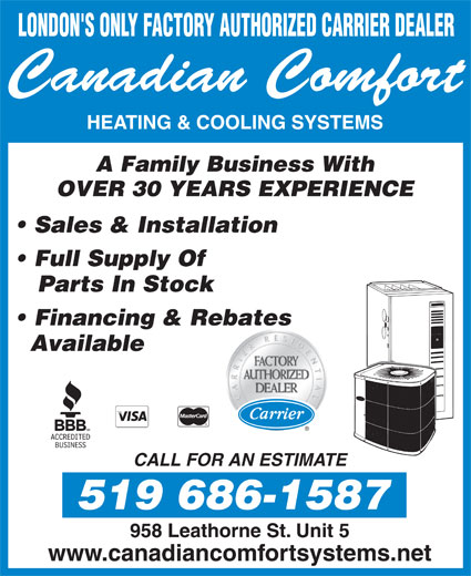 Ads Canadian Comfort Heating &amp; Cooling Systems