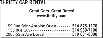 Ads Thrifty Car Rental