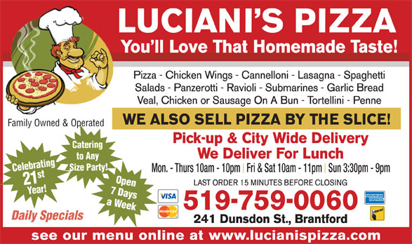 Ads Luciani&#039;s Pizza