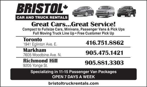 Ads Bristol Car &amp; Truck Rentals
