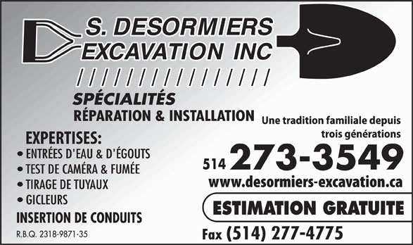 Ads S Desormiers Excavation Inc