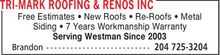 Ads TRI-MARK Roofing & Renos Inc