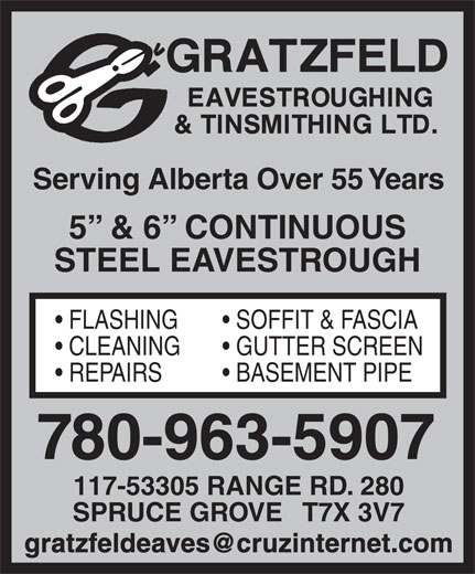 Ads Gratzfeld Eavestroughing & Tinsmithing Ltd