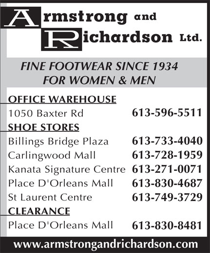 Ads Armstrong & Richardson Shoes Ltd (Main Office)