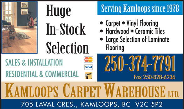 Ads Kamloops Carpet Warehouse Ltd