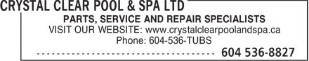 Ads Crystal Clear Pool &amp; Spa Ltd
