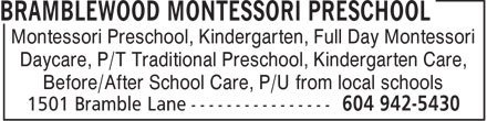 Ads Bramblewood Montessori Preschool
