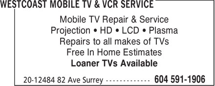 Ads Westcoast Mobile TV & VCR Service