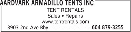 Ads Aardvark Armadillo Tents Inc
