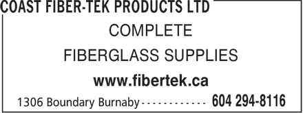 Ads Coast Fiber-Tek Products Ltd