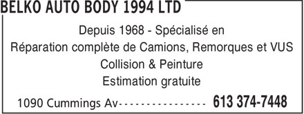 Ads Belko Auto Body 1994 Ltd