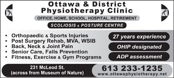 Ads Ottawa & District Physiotherapy & Sports Injury Clinic