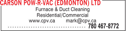 Ads Carson Pow-R-Vac (Edmonton) Ltd