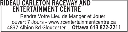 Ads Rideau Carleton Raceway and EntertainmentCentre