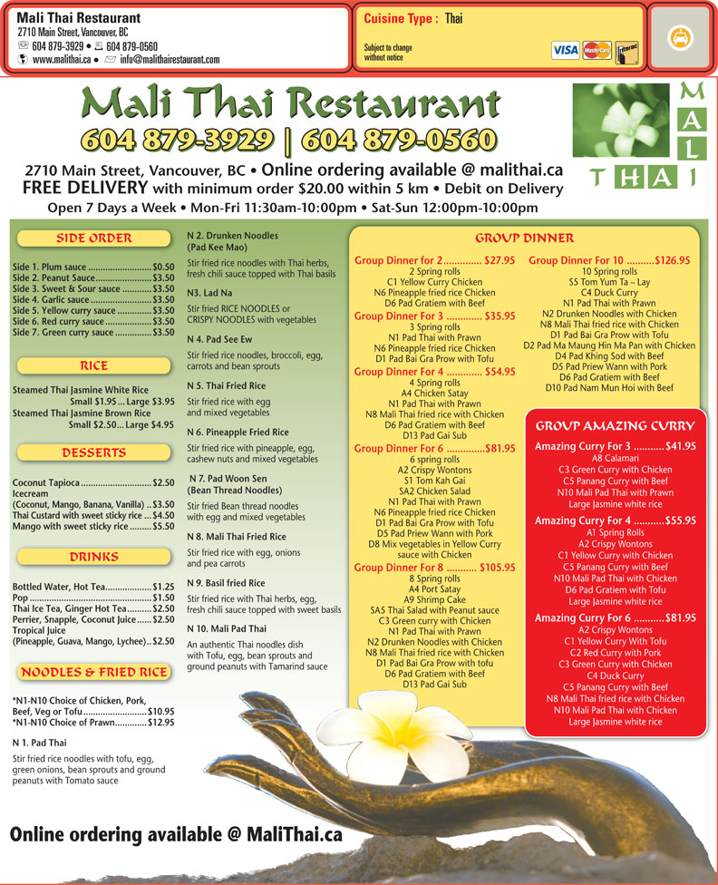 menu Mali Thai Restaurant