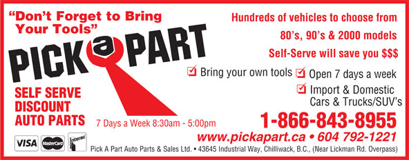 Ads Pick-A-Part Auto Parts & Sales