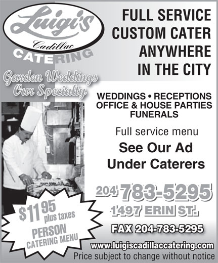 Ads Luigi&#039;s Cadillac Catering Service