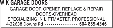 Ads W K Garage Doors - Specializing in Liftmaster Professional