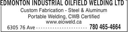 Ads Edmonton Industrial Oilfield Welding Ltd
