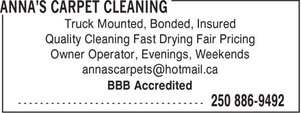 Ads Anna's Carpet Cleaning