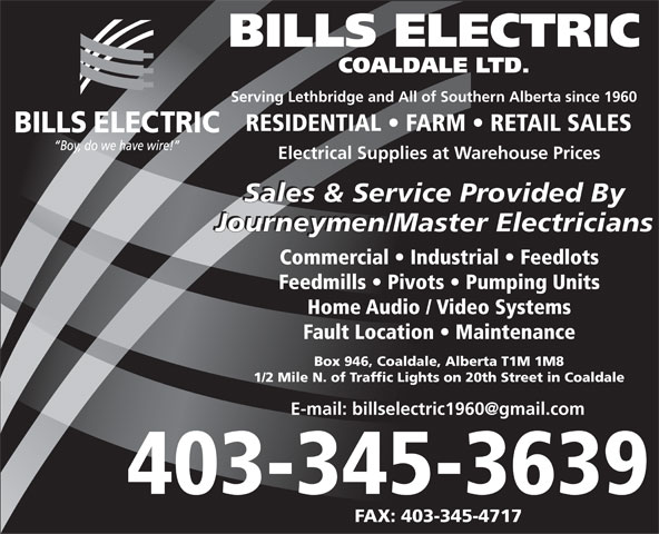 Ads Bills Electric Coaldale Ltd