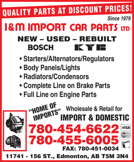 Ads I&amp;M Import Car Parts Ltd