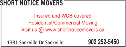 Ads Short Notice Movers