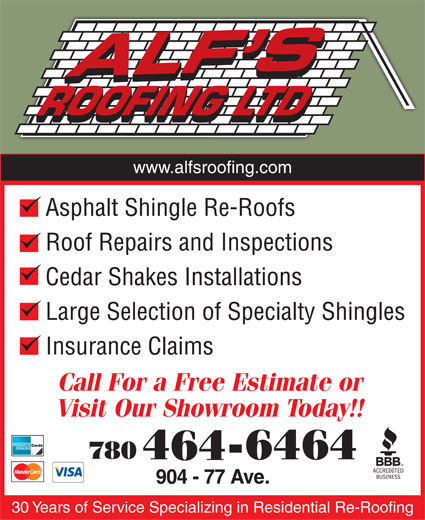 Alf S Roofing Ltd Edmonton Ab 904 77 Ave Nw Canpages