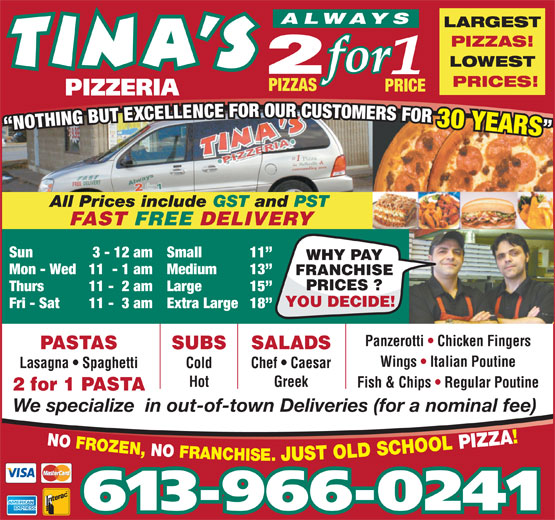 Ads Tina's Pizzeria