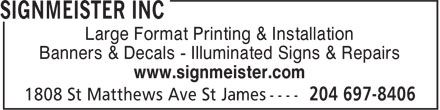 Ads Signmeister Inc