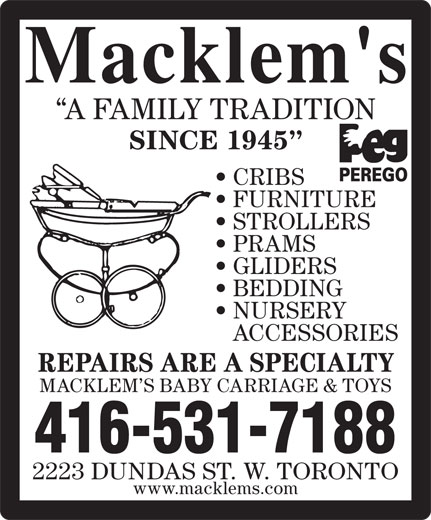 Ads Macklem's Baby Carriage & Toys