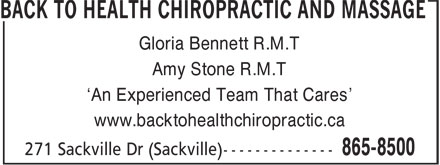 Ads Back To Health Chiropractic and Massage