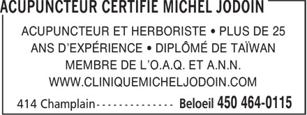 Ads Acupuncteur Certifi Michel Jodoin