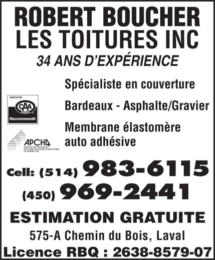 Ads Boucher Robert Les Toitures Inc