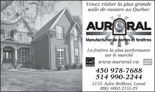 Ads Auroral Portes &amp; Fentres Inc