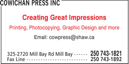Ads Cowichan Press, The