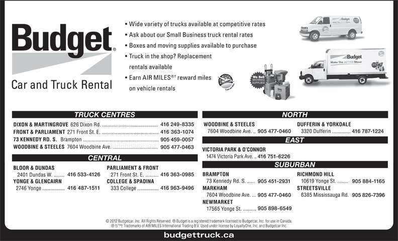 Ads Budget Car & Truck Rental - Dixon Rd & Martingrove