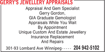 Ads Gerry's Jewellery Appraisals