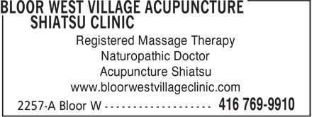 Ads Bloor West Village Acupuncture Shiatsu Clinic