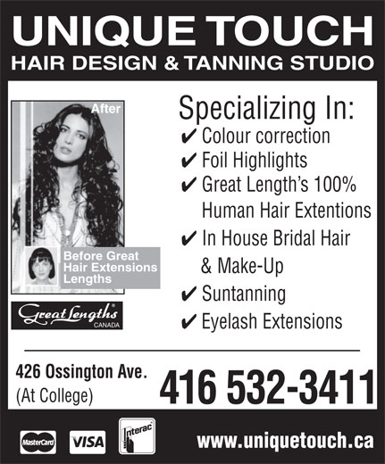 Ads Unique Touch Suntanning & Hair Design