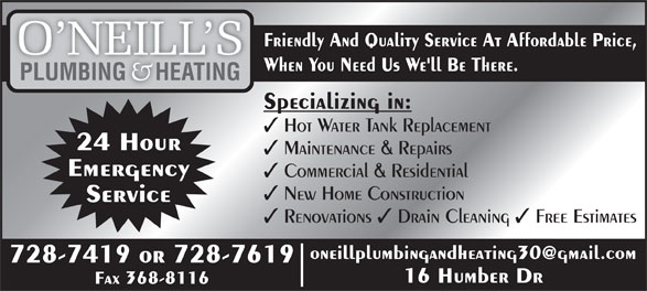Ads O'Neill's Plumbing & Heating
