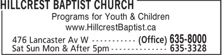 Ads Hillcrest Baptist Church