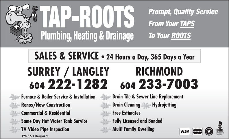Ads Tap-Roots Plumbing & Heating Ltd - Vancouver Branch