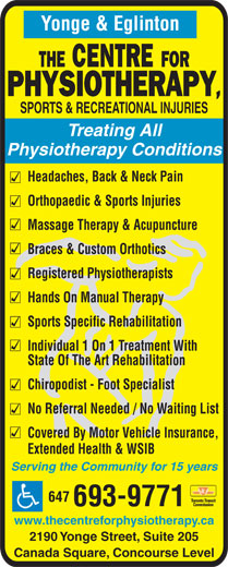 Ads The Centre for Physiotherapy, Sports & Recreational Injuries