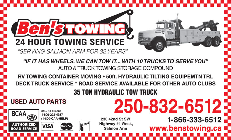 Ads Ben's Towing & Auto Wrecking Ltd