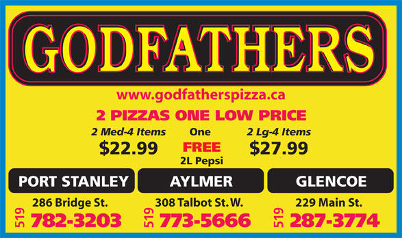 Ads Godfather Pizza - Port Stanley
