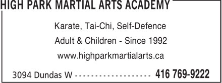 Ads High Park Martial Arts Academy