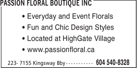 Ads Passion Floral Boutique Inc