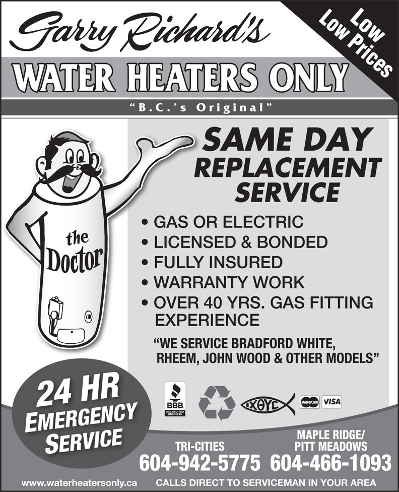Ads Garry Richard&#039;s Water Heaters Only - Coquitlam/Port Coquitlam/Port Moody