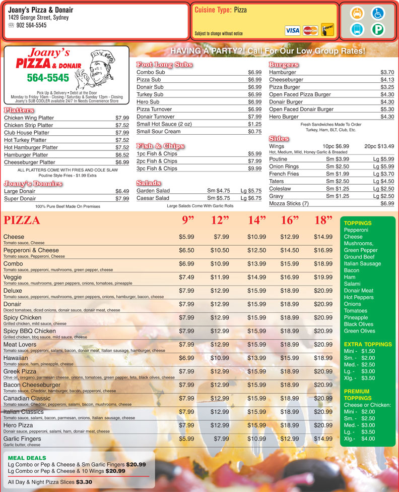 menu Joany's Pizza & Donair
